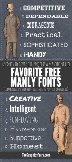 Manly Fonts - Free Commercial Use   //   The Graphics Fairy  ~~ {12 Free fonts w/ easy download links}