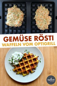 OptiGrill Rezept: Gemüse-Rösti-Waffeln backen This delicious recipe is based on Sally's Rösti waffles - I only slightly modified it and among other things. Zucchini added to make the waffles Cheese Recipes, Veggie Recipes, Baby Food Recipes, Baking Recipes, Healthy Recipes, Quark Recipes, Waffles, Best Pancake Recipe, Baked Vegetables