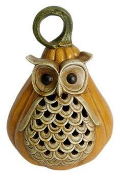 Pumpkin and owl...2 of my favorite things combined!! Fall Gourd Owl Luminary Tea Light Holder