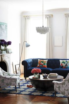 Anthropologie Furniture - Lovely velvet couch and pretty chairs and area rug.