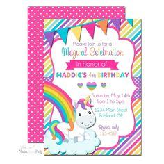 Unicorn Birthday Party Invitation | www.foreveryourprints.com