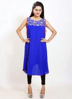 Vibrant Blue Georgette #Kurti
