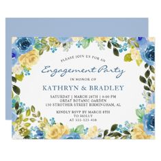 Blue Watercolor Floral Engagement Party Card - party gifts gift ideas diy customize