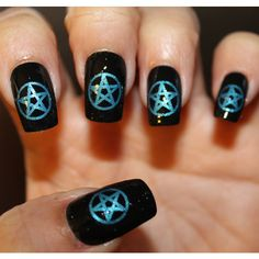 66 METALLIC BLUE PENTACLES Nail Art - Professional Results Waterslide... ($7) ❤ liked on Polyvore