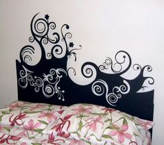 As far as Feng Shui is concerned metal isn't the best idea for a bedroom headboard. Natural materials such as wood are the way to go. But the whimsical design and shadows on the wall are nice. Plasma cut head board by Metal Steph
