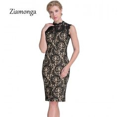 7377d0b4157 Ziamonga Autumn Lace Dress Women Vintage Elegant Crochet lace Midi Party  Dresses Black Red Beige Sheath
