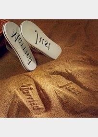 "Create ""Just Married"" impressions in the sand. These fun sandals are not only for the Bride, consider providing a pair for each of your attendants to wear while they enjoy a day at the spa, the beach or even at the reception. These also would make fabulous guest favors for weddings with a beach or tropical theme. To determine the appropriate sandal size, measure your foot from toe to heel. Select the sandal that is the same or slightly larger. These are flip flops and do not require an exact ..."