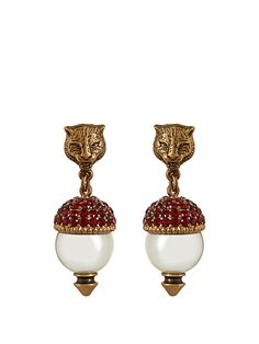 Pearl-effect embellished feline earrings | Gucci | MATCHESFASHION.COM US