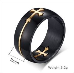 Awesome Designed Black/Gold Stainless Steel Men Ring