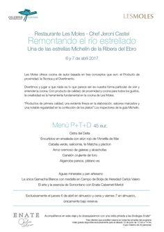 Menú Celebris Epicúrea - Restaurante Les Moles