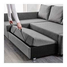 FRIHETEN Sofá-cama de canto c/arrumação - Skiftebo gris esc - IKEA . 429 EUR  Don't love this particular sofa (it's not very comfortable as a sofa, but an L-Shaped couch is what we need for the living room. It then becomes a good second bed for guests.
