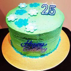 25th birthday cake, simple flower cake
