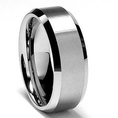 8MM High Polish / Matte Finish Men's Tungsten Ring Wedding Band Size 9.5, (polished finish, ring, tungsten carbide, comfort fit, tungsten ring, wedding band, mens jewelry, mens ring, tungsten wedding band ring mens 6 mm, domed)