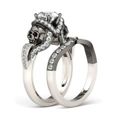 Vapor-like Ribbons Twist 2-tone Round Cut Created White Sapphire Rhodium Plated Sterling Silver Skull Ring Set