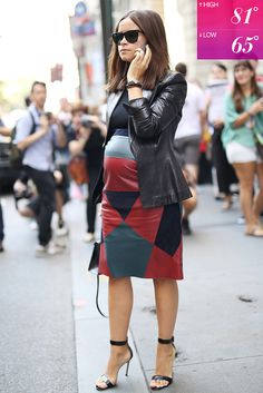"I personally would call this ""What NOT to wear when you're pregnant - pattern and all - and especially the HEELS. OMG, woman! Have you lost your mind? Clad in more than a little leather, Miroslava Duma kept her ""bump"" nice and toasty."