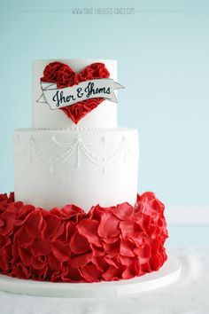 Red Vintage Wedding Cake by Darlene - http://cakesdecor.com/cakes/215758-red-vintage-wedding-cake