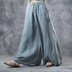 Buy Light Blue Plus Size Wide Leg Jeans Soft Cotton Maxi Frayed Jeans in Jeans online shop, Morimiss offers Jeans to make you feel comfortable Plus Size Jeans, Plus Size Tips, Plus Size Skirts, Plus Size Casual, Plus Size Model, Plus Size Outfits, Curvy Fashion, Plus Size Fashion, Jeans Fashion