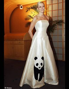 South African swimmer, Charlene Wittstock in panda gown, by Isabell Christensen, at the WWF sponsered Panda Ball, Monaco. In November this gown was auctioned at the Panda Ball in Singapore in aid of the WWF.