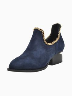 Suede Notched Heel Boot With Chain Strap, $104.99