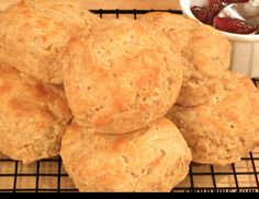 Old-Fashioned Buttermilk Biscuits made with whole grain flour!!! Fluffy, flaky, and delicious at only 183 calories.