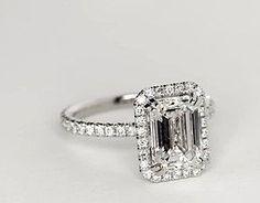 Blue Nile Studio Emerald Cut Heiress Halo Diamond Engagement Ring in Platinum (1/2 ct. tw.)