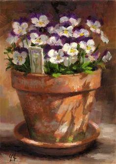 Violas Full Bloom - Original Fine Art for Sale - 漏 Linda Jacobus