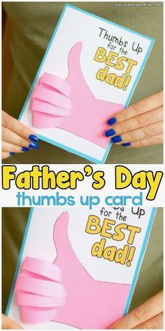 Father& Day Thumbs Up Card is part of Kids Crafts Ideas For Fathers Day We've got another homemade fathers day card idea ready for you and this one is a funny one too! Make a Father's Day Thumb - Homemade Fathers Day Card, Fathers Day Art, Happy Fathers Day, Fathers Day Crafts Preschool, Easy Fathers Day Craft, Diy Father's Day Gifts Easy, Father's Day Diy, Gifts For Dad, Diy Gifts