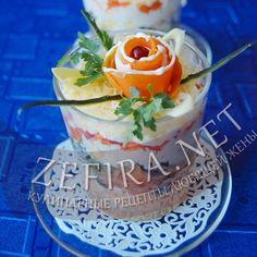 Слоеный салат со слабосоленой семгой — Кулинарные рецепты любящей жены