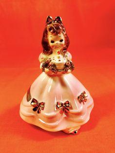 Happy Birthday! Josef Originals Shopper Girl Figurine Fun Cake Vintage Sale Rare