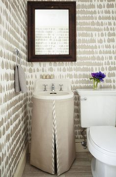 Taupe Powder Room with Skirted Sink Schumacher Queen of Spain wallpaper