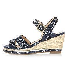 Girls navy snake print wedges - sandals - footwear - girls