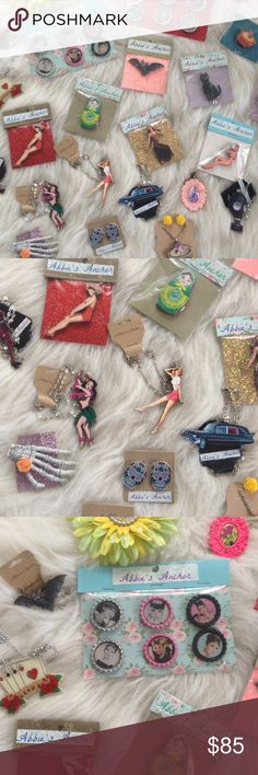 LOT of my handmade jewelry!❤️❤️ I used to have these for sale in a local tattoo shop, but they shut down.  Most items still have price tags- added all up this lot retails for over $320 so this is a great deal! I will  throw in a few surprise freebies!!! Tons of necklaces and brooches including gas mask, bats, hearses, pinup girls, zombie pin up girls, cupcakes, octopus, etc! hair accessories, skeleton hand clips, sugar skull earrings, rose earrings and more!!!! Great for resale or to treat…