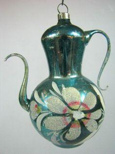 Vintage Blue TEA COFFEE POT Mica Flower German Mercury Glass Christmas Ornament