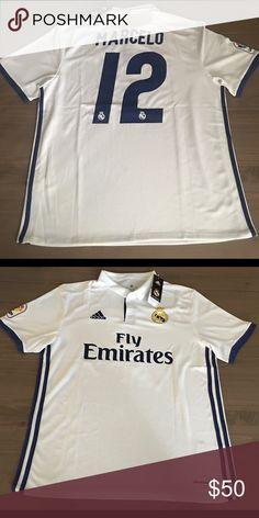 Real Madrid white Marcelo  12 liga adidas soccer Real Madrid 16 17 New  season home white Marcelo  12 liga men adidas soccer jersey Size  Large  Adidas Shirts ... 85ac1b30a