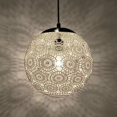 Liz Crochet Lamp 10 ø white Lampe Crochet, Crochet Lampshade, Doily Lamp, Lace Lamp, Lamp Shades, Light Shades, Handmade Lamps, Lamp Sets, Home Decor Ideas