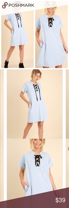 Washed posh Chet tee dress w/ neck drawstring Washed pocket tee dress with n Celine drawstring.  Cotton blend Dresses Midi