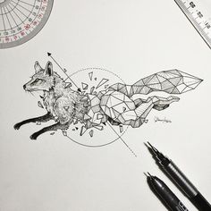 """deviantart: """" escapekit: """" Geometric Animals Manila-based illustrator Kerby Rosanes known as Sketchy Stories has created a new series of sketches combing animals with geometric forms. """" (ノ◕ヮ◕)ノ*:・゚✧:..."""