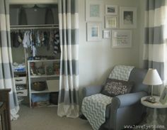 organized nursery closet. Use curtains instead of closet doors, love this idea!