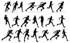 Runners running silhouettes — JPG Image #female #running • Available here → https://graphicriver.net/item/runners-running-silhouettes/3064161?ref=pxcr