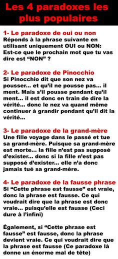 Les 4 paradoxes l Science Facts, Lol, French Quotes, College Humor, Illusions, Funny Jokes, Funny Pictures, Messages, Shit Happens