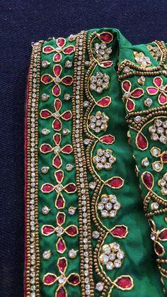 Cutwork Blouse Designs, Wedding Saree Blouse Designs, Simple Blouse Designs, Bead Embroidery Patterns, Beaded Embroidery, Mirror Work Blouse Design, Maggam Work Designs, Bridal Collection, Zardosi Work Blouse