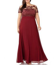 Stunning burgundy illusion gown for Mother-of-the-Bride - JS Collections Floral Embroidered Chiffon Gown (Plus Size) Plus Size Wedding Guest Dresses, Bridesmaid Dresses Plus Size, Plus Size Formal Dresses, Dresses To Wear To A Wedding, Evening Dresses Plus Size, Dress Wedding, Floral Wedding, Wedding Pins, Burgundy Wedding