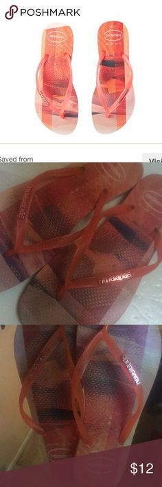 💎👡HAVAIANAS WOMENS SANDALS 👡 Size 9/10 Womens but I would say size 9 and a half max. HAVAIANAS HAVAIANAS - SLIM PAISAGE FLIP FLOPS (PEACH) WOMEN'S SANDALS. # havaianas # Havaianas Shoes Sandals