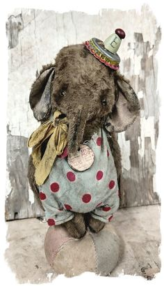 """Image of Little ToY Circus Elephant - 6.5"""" aged romper & poker chip charm - By artist Whendi's Bears handmade vintage antique mohair bear doll"""