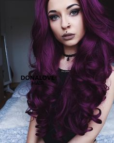 dark purple wavy waist length wig http://www.donalovehair.com/335-dark-purple-wavy-waist-length-lace-front-synthetic-wig-sny089.html?Pin=010