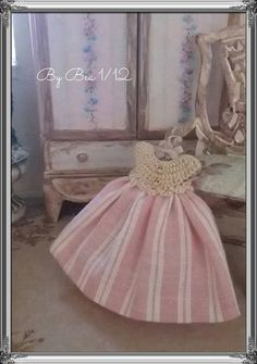 1/12 Sweet baby girl dress and hanger miniature - dolls house - hand made with french lace and silk ribbon- shabby chic