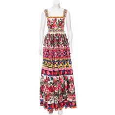 Pre-owned Dolce & Gabbana Spring 2017 Mambo Print Gown (€7.120) ❤ liked on Polyvore featuring dresses, gowns, red, red ball gown, embroidered dress, red evening dresses, red sequin dress and sequin dresses