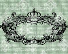 Digital Download Crown Flourish Royal Oval Frame Border, digi stamp Rococo Baroque Antique Illustration Add Photos or Text, Digital Transfer