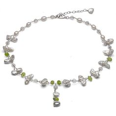 """Sterling Silver 5-6mm Baroque Freshwater Pearl with 4-5mm White and Green Gemstones Y-Necklace 16""""+2"""" Extended Chain. La Regis Pearl & Gemstones, http://www.amazon.com/dp/B006H3LVZW/ref=cm_sw_r_pi_dp_y0Nsrb00SNGSN"""