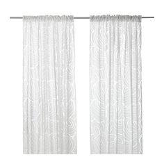 IKEA - NORDIS, Visillo, par, , Los visillos dejan pasar la luz del sol pero proporcionan intimidad, por lo que son perfectos para ponerlos en una ventana junto a otras cortinas.Puedes colgar las cortinas de una barra o de un riel.Pon ganchos RIKTIG en la cinta de la parte superior para crear pliegues.Puedes colgar la cortina de una barra con trabillas ocultas o con argollas y ganchos.